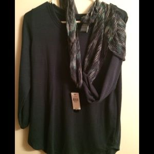 Ladies dress shirt with scarf